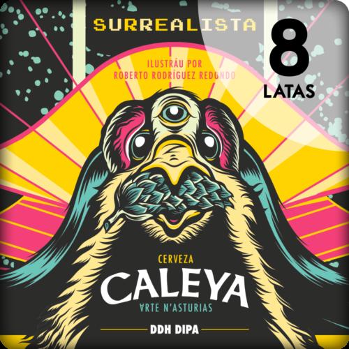 Caja de 8 latas de Surrealista de Cerveza Caleya.